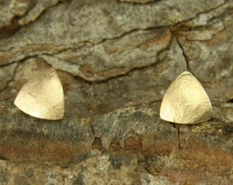 Earrings rose gold 585 /-, mini triangle textured paper, handmade