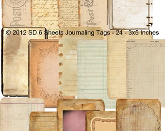 6 Sheet Bundle Paper Pack  - Journaling Papers and Postcards -  Printable Digital Collage Sheet - Digital Download Scrapbooking Kit