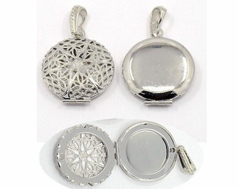 1pc Silver locket (many designs) Solid Perfume necklace Scent Locket aroma therapy pendant diffuser lockets 27mm memory jewelry finding 750x