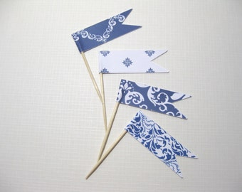 24 Flag Cupcake Toppers - Navy White Party Food Picks - Flag Picks - Food Decoration - Cupcake Picks -Bridal Shower - Wedding - Baby Shower