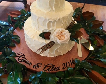 Wedding Cake Stand- Wedding Platter - Keepsake - Wedding Gift - Wedding Decor - Rustic Wedding - Bride Gift - Personlized Gift
