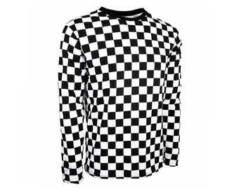 Men's Long Sleeve Black & White Checkered Shirt
