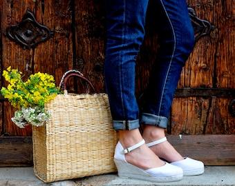 wedge sandals - white - wedges, espadrilles, wedge espadrilles, ankle strap sandal, wedge espadrilles, ankle strap wedge espadrilles