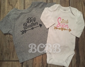 Big Brother and Little Sister Set Bodysuit Tee T-Shirt Pink Gold Gray Black Arrow Trendy Tribal Little Girl Newborn Baby Shower Gift Present