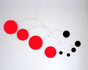 MOD MOBILE in Red & Black - 3 SIZES Available - Groovy Retro Mid Century Inspired Hanging Modern Art - Home Decor Mobiles