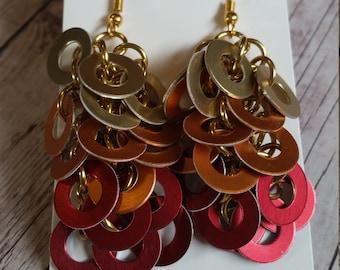 Phoenix inspired washer cascade earrings