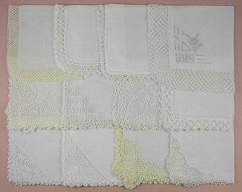 Wedding Hanky Lot,Vintage Hanky Lot,One Dozen White Wedding Vintage Hankies Handkerchiefs (Lot #86)