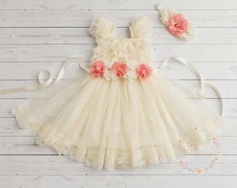 Baby dress, Girls dress, Ivory lace dress, Ivory lace flower girl dress,Easter dress, Christening dress, birthday dress, Baptism dress.