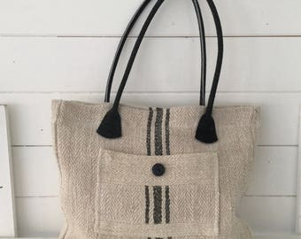 Upcycled Pocket Handbag made with Vintage Hungarian Striped Linen