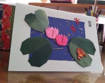 Handmade Origami Frog Lily Pad Card