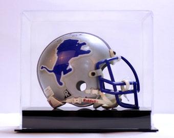 Mini football helmet display case 85% UV filtering acrylic memorabilia collectible showcase NFL NCAA solid black acrylic base