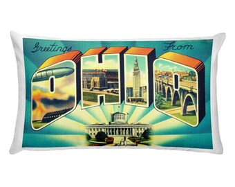 Ohio Pillow Covers, Ohio State Decor USA, Ohio Gifts, Retro Camper Pillow, Realtor Gifts, State Pillow, Greetings from Ohio, Postcard Pillow