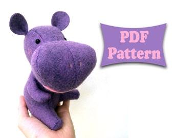 Felt Hippo, Hippopotamus Pattern, Felt Pattern, Felt Doll Pattern, Felt Animal Patterns, Soft Felt Toy Pattern, PDF sewing patterns