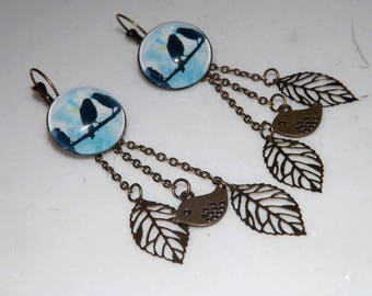 nature earring, bird and leaf glass cabochon 20 mm