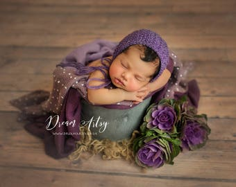 Baby newborn girl knitted bonnet in purple, Posing, Photo prop, made to order