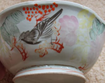 Vintage Chinese Bowl, Chinese Porcelain Bowl, Traditional Chinese Pottery, Antique Pottery, Blue Flower with Bird Bowl,