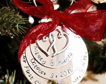 SALE! Personalized hand stamped our first christmas as mr. and mrs. christmas ornament