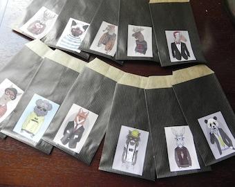 12 Kraft envelopes animal COSTUMES Black 7 x 12 cm