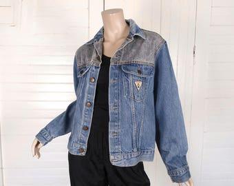 80s Jean Jacket in Blue & Gray Denim- 1980s Vintage Punk Grunge New Wave Rock n Roll Club Work - Small