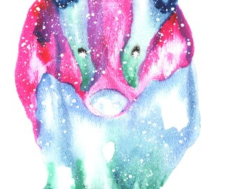 Honey Badger ORIGINAL Watercolor 9X12, Galaxy Spirit Animal