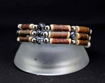 Native American Hazel and Obsidian bracelet
