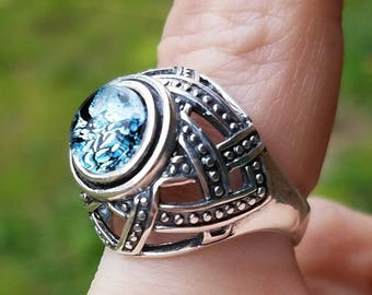 New Cut Cremation Jewelry Ring Basket Weaved Sterling Silver size 7 and 8 Pet Memorial Urn Ring