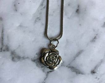 Rose Silver Necklace with Silver Chain | Handmade Jewellery | Charm Necklace | Bohemian Pendant |