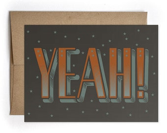 Congrats, Congrats Grad, BFF Card, Card for Bestie, Cards for Him for Her, Graduation Card - Yeah! Greeting Card