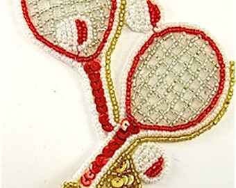 "Sale! Tennis Racquet Applique, Sequin Beaded, 5"" x 4""  -B003A-0030"