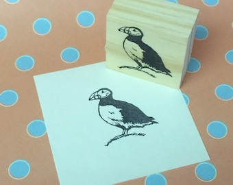 Hand carved rubber stamp - puffin design.
