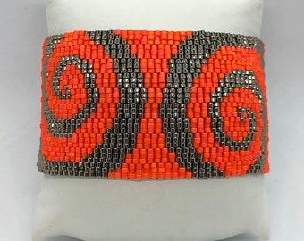Orange swirl Peyote cuff bracelet best gift idea for women mother wife