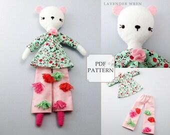 Fashion Bear Pattern, Plush Bear Pattern, Sewing Pattern, Felt Pattern, Doll Sewing, Doll Sewing Pattern, Bear Clothing pdf, Bear Doll PDF
