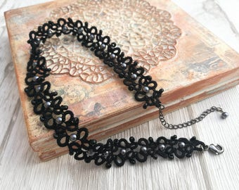 Black lace choker with grey beads
