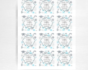 Thanks SNOW Much For Coming Party Favor Tag Winter Wonderland Birthday Favor YOU print