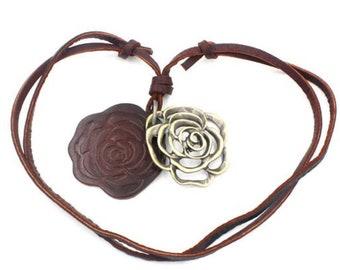 Leather rose necklace adjustable length