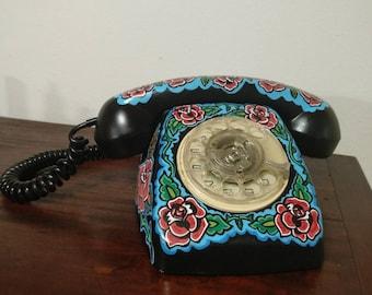 80s Telephone Roses Tattoo Black