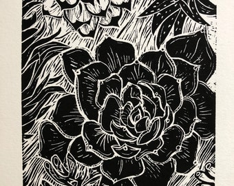 Succulents' an original block print by D.L. Richardson
