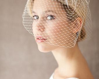 "Bridal Wedding Veil, Birdcage, Feather Headpiece - ""Diva"""