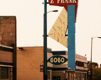 "Chicago Photography, mid-century vintage neon sign, Chicago Photo, Rogers Park, ""Z FRANK"", used cars, red blue, atomic, arrow, geometric"