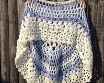 Crochet Round Poncho Pattern Short Poncho #2  Unbalanced Design Not a finished product It is a PDF Pattern DIY Instructions