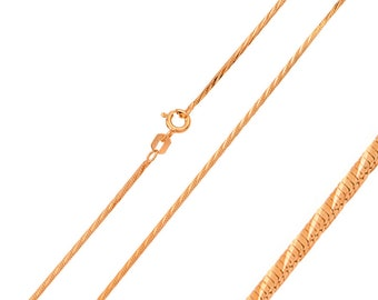 1mm 925 Sterling Silver Snake Chain Necklace / Rose Gold Plated made in italy(PLQDIS10RP)