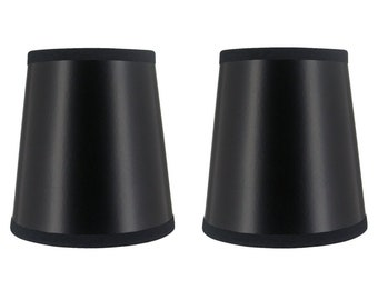 Set of 2 Black 4 Inch Chandelier Shade Wall Sconce Shades Barrel Drum