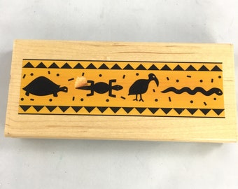 Stampabilities African Animals border rubber stamp mounted wooden