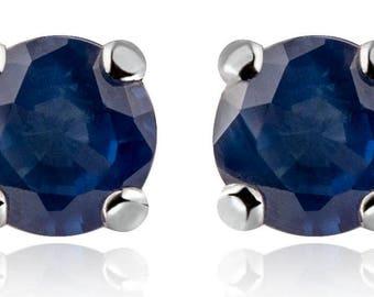Sapphire Earrings, Silver Earrings,