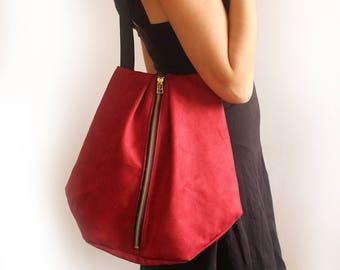 ROME tote, Red shoulder bag - Everyday tote Bag / Vegan tote bag - red tote bag / Fabric tote bag - faux suede tote bag