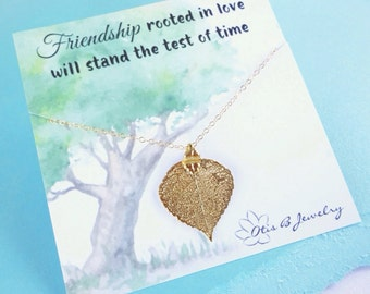 Gold leaf necklace for best friends and sisters necklace, friendship card, gold real leaf jewelry, friendship necklace