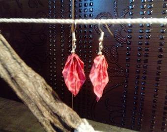origami earrings * leaves * hearts