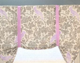 Faux Roman Shade/Butterfly Valance/Tie up Valance/Topper/Stationary Roman Shade, Barber Storm Fabric, Bird Fabric Roman Gray/Lilac/Purple
