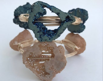 Blue or Champagne large raw druzy geode wire bangle bracelet in gold or silver