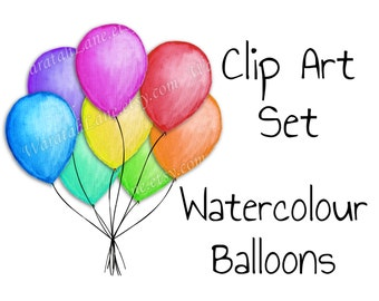 Watercolor Balloons Clip Art Hand Painted Clipart Set Bunch of birthday balloons watercolour clip art helium balloons party clipart png
